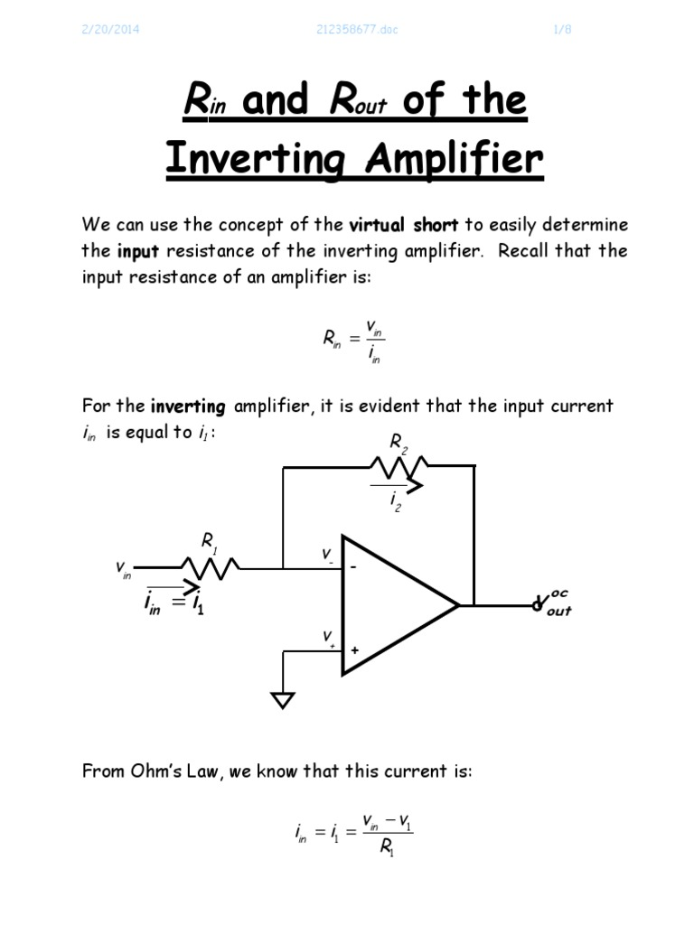 Ri And Ro Of The Inverting Amplifier Operational Used As An A Simple Explanation