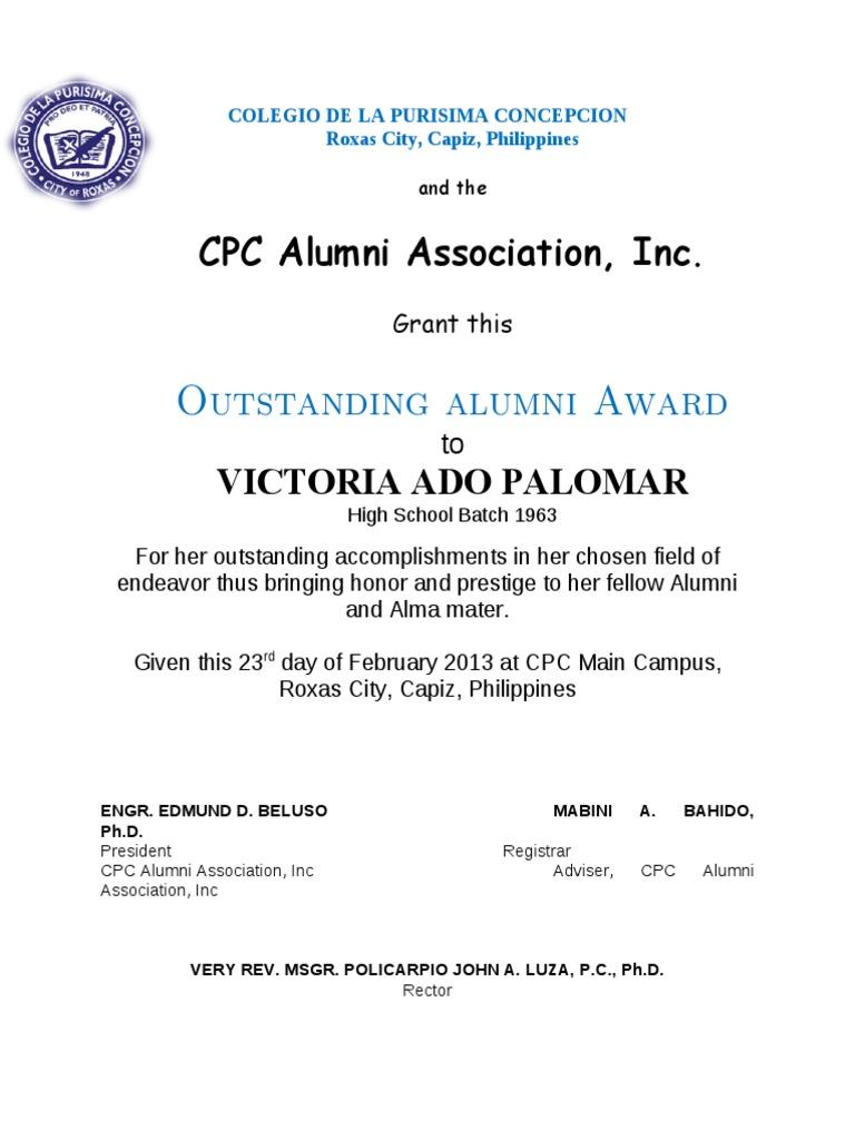 Outstanding alumni award sample certificate yadclub Images