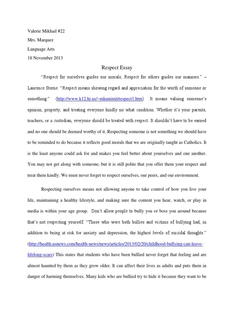 Respect essay val bullying adolescence
