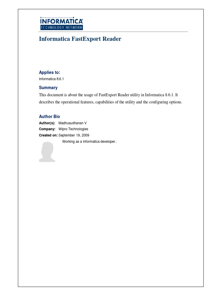 informatica fastexport reader teradata sql databases