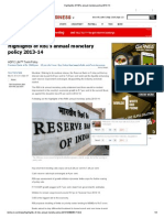 Highlights of RBI's Annual Monetary Policy 2013-14