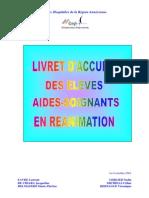 Livret d'Accueil Des Eleves Aides Soignants en Reanimation