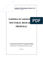 Pilani July 2012, Guidelines for submission of DOCTORAL RESEARCH PROPOSAL