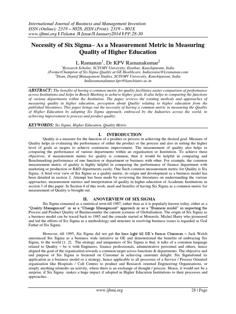 International Journal Of Business And Management Invention Ijbmi Six Sigma Customer Satisfaction
