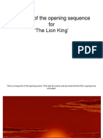 Analysis of the opening sequence for The Lion King