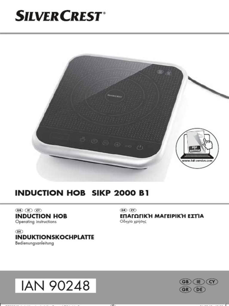 Silvercrest sikp 2000 b1 induction - Silvercrest home tech ...