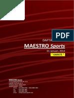 Maestro Sports Price List 01 Januari 2014 Karate