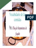 Vocabulario de Las Comidas. Blog de Hispanistas de Agadir.