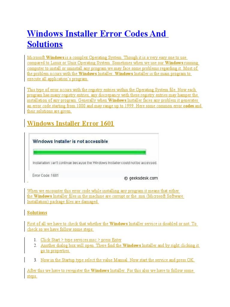 Windows Installer Error Codes and Solutions | Windows