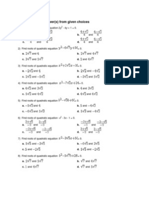 Grade 9 Quadratic Equations Worksheet