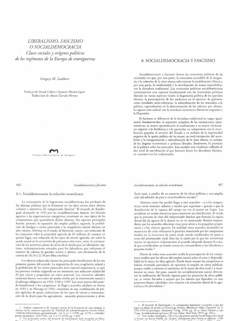 Luebbert G Liberalismo Fascismo o Socialdemocracia Cap08