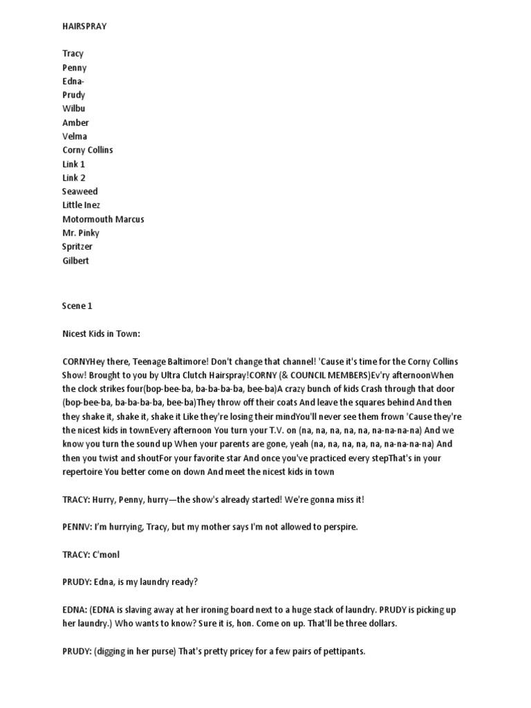 hairspray script pdf act 2