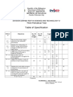 Table of Specification Second Grading Period