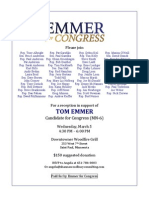 Tom Emmer for Congress fundraising invite for March 5, 2014