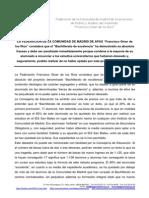 Nota de Prensa Fracaso Del Bachillerato de Excelencia