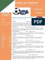 Dépliant publicitaire Activités Mercredis PM Bloc 3 Préscolaire et 1e cycle 2013 2014