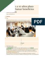 Amplían a 10 años plazo para reclamar beneficios laborales PERU 2014
