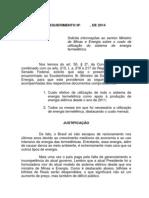 Requerimento de pedido de informações ao governo sobre custos de termelétricas