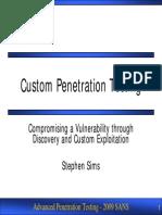 Stephen Sims - Custom Penetration Testing - SANS PenTest Summit09
