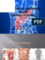 Pancreatitis de Origen Biliar