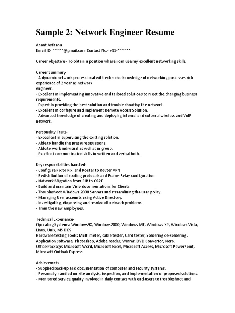 sample network engineer resume pdf