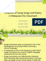 Purposes of Using Songs and Poetry in Malaysian