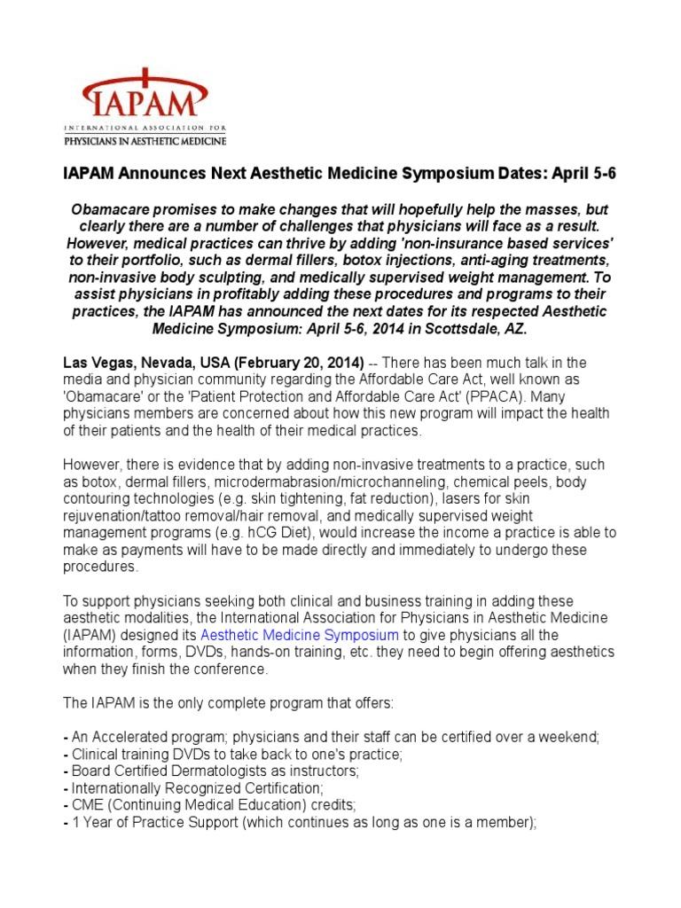 Iapam Announces Next Aesthetic Medicine Symposium Dates April 5 6
