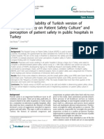 Validity and Reliability of Turkish Version of Hospital Survey on Patient Safety Culture and Perception of Patient Safety in Public Hospitals in Turkey