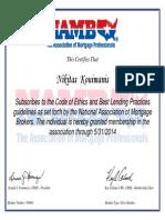 NAMB Certificate For Nikitas Kouimanis