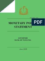 Monetary Policy June 2008- Tanzania