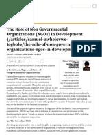 The Role of Non Governmental Organizations (NGOs) in Development - Nigeria Village Square