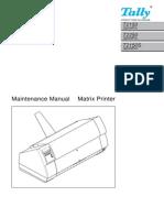 Tally Dot Matrix Printer T2150 T2250 T2150S Parts and Service Manual