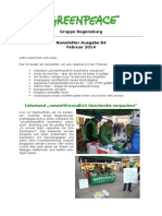 Newsletter 84 Greenpeace Regensburg Februar 2014