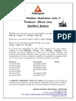Lista 3 Equilíbrio Químico- Química Analítica Qualitativa - ANHANGUERA 3º Período