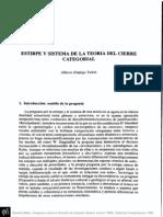 ESTIRPE Y SISTEMA DE LA TEORÍA DEL CIERRE CATEGORIAL