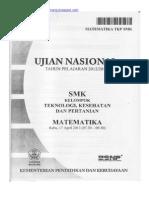 Naskah Soal UN Matematika SMK 2013 Teknologi, Kesehatan Dan Pertanian Paket 1