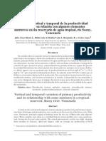 Variacion Vertical y Temporal de La Productividad Primaria y Su Relacion Con Algunos Elementos Nutritivos en Un Reservorio de Agua Tropical