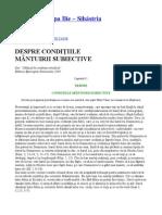 Parintele Cleopa - DESPRE CONDITIILE MÂNTUIRII SUBIECTIVE