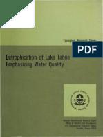 Eutrophication of Lake Tahoe Emphasizing Water Quality