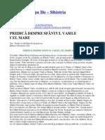 Parintele Cleopa - PREDICA DESPRE SFÂNTUL VASILE CEL MARE