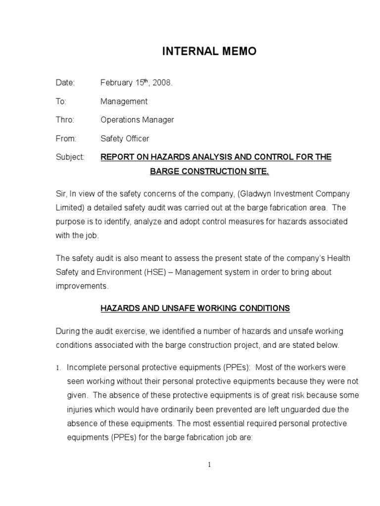 Safety officer report safety for Safety memo template