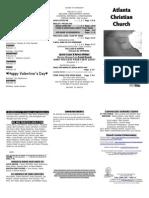 February 9, 2014 Trifold Bulletin