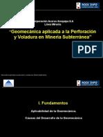 Geomecánica aplicada a la Perforación y Voladura en Minería Subterránea
