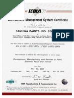 Certificado ISO 14001 Pinturas Samhwa