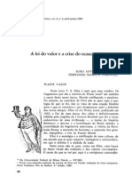 De PAULA, J. a. & PIMENTEL, F. D. (1989) - A Lei Do Valor e a Crise Do Nosso Tempo