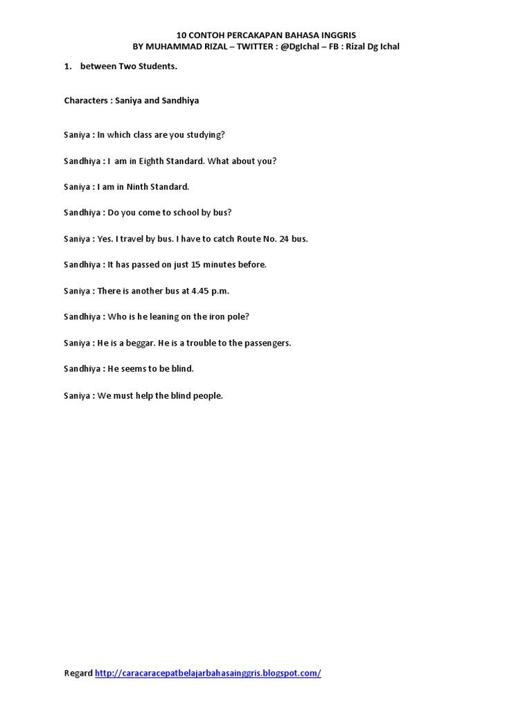 Contoh Percakapan Bahasa Inggris