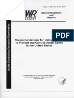CDC MMWR August 17, 2001  Recommendations for Using Fluoride.....