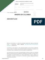 VENTAJAS Y DESVENTAJAS DE LA MINERÍA EN COLOMBIA