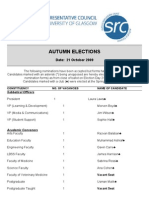 SRC Autumn Elections 2009 Candidate List