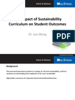 Impact of Sustainability Outcomes on Student Learning